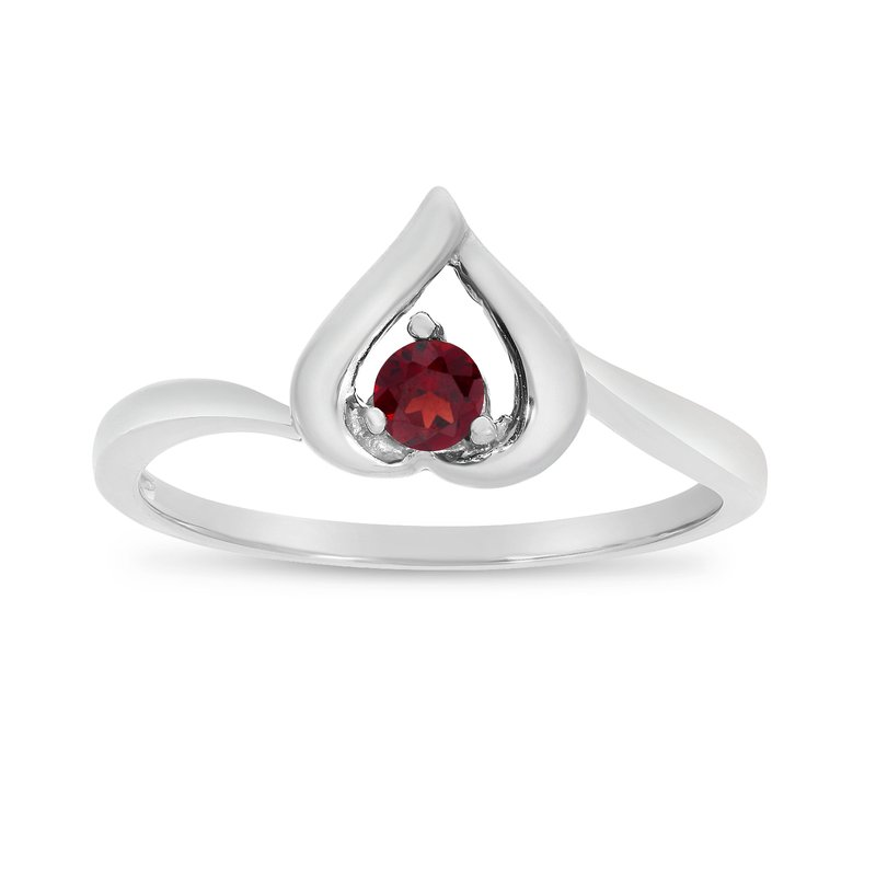 Color Merchants 14k White Gold Round Garnet Heart Ring