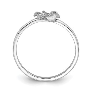 14K White Brushed & Polished D/C Plumeria Ring