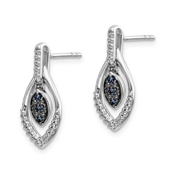14k White Gold Blue and White Diamond Dangle Post Earrings