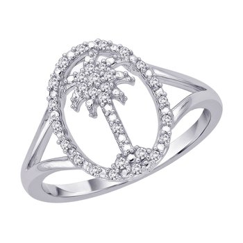 Diamond Palm Tree in Oval Ring in Sterling Silver (0.12 cttw)