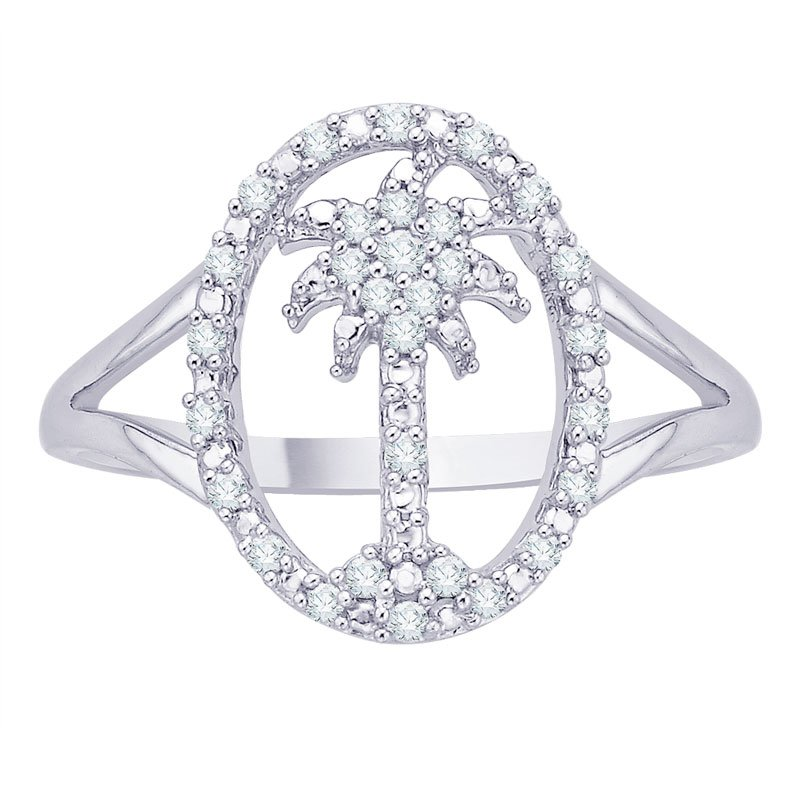 Essentials Diamond Palm Tree in Oval Ring in Sterling Silver (0.12 cttw)