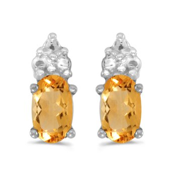 10k White Gold Oval Citrine Earrings