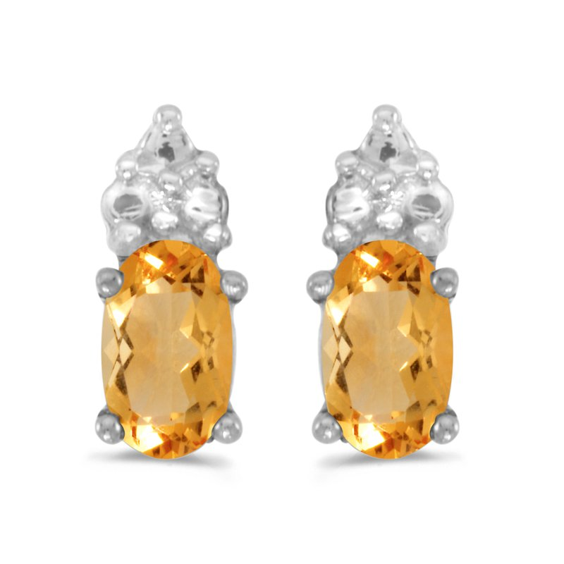 Color Merchants 10k White Gold Oval Citrine Earrings