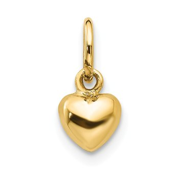14k Solid Polished 3-Dimensional Small Heart Charm