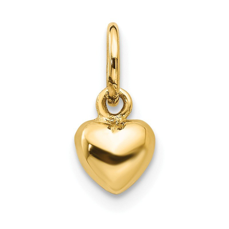 Quality Gold 14k Solid Polished 3-Dimensional Small Heart Charm