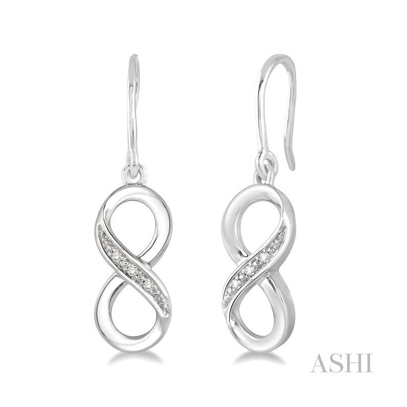 ASHI silver infinity diamond earrings