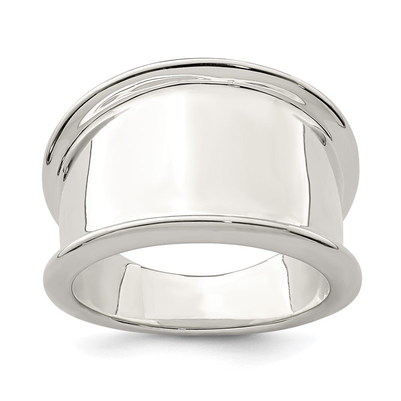 Quality Gold Sterling Silver 15mm Tapered Ring