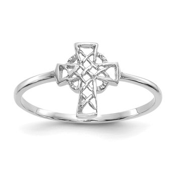 14k White Gold Polished Celtic Cross Ring