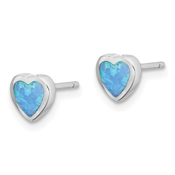 Sterling Silver Rhodium-plated Imitation Opal Heart Post Earrings