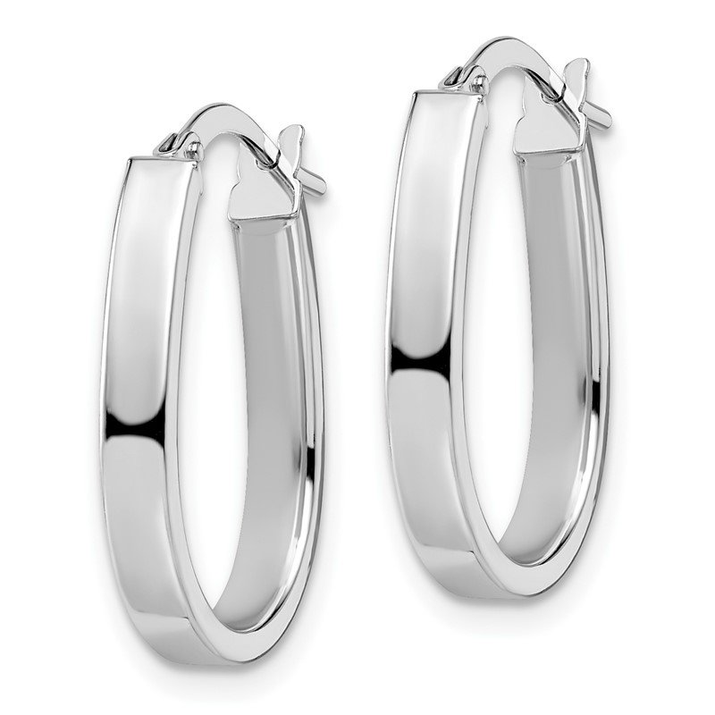 Leslie's Leslie's 14K White Gold Polished U-Shape Hoop Earrings