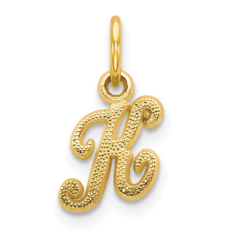 Quality Gold 14KY Script Letter K Initial Charm
