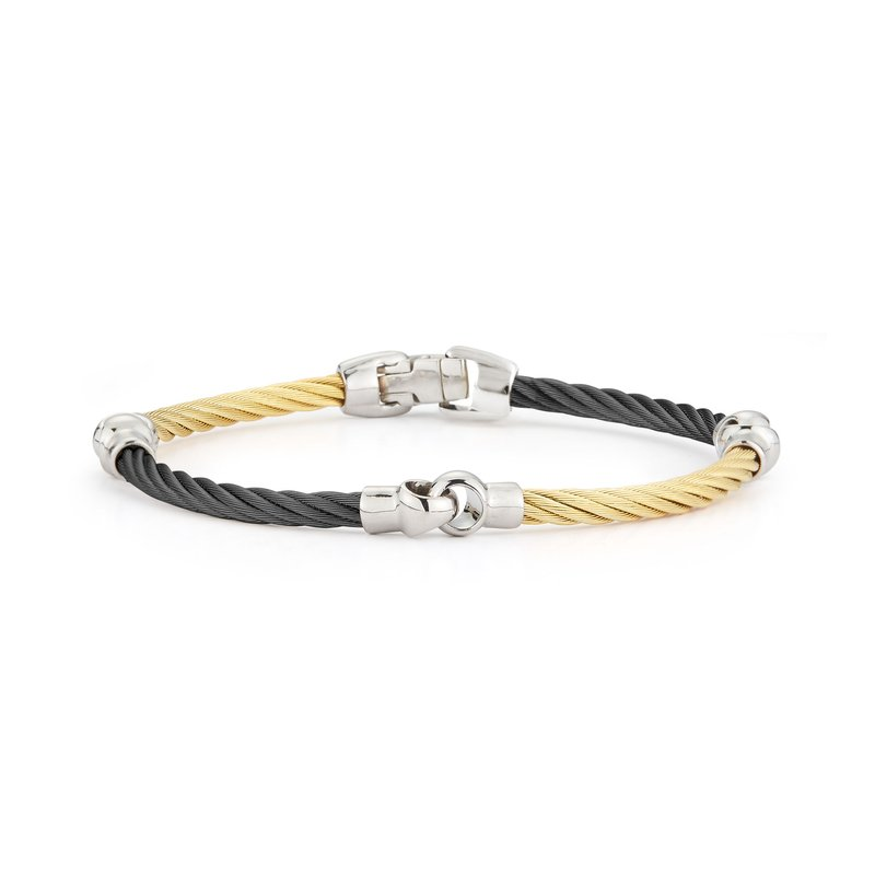 ALOR Black & Yellow Cable Interlocking Bracelet