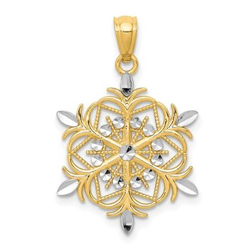 14k w/ Rhodium Diamond-cut Snowflake Pendant
