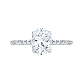 18K White Gold Oval Diamond Floral Engagement Ring (Semi-Mount)