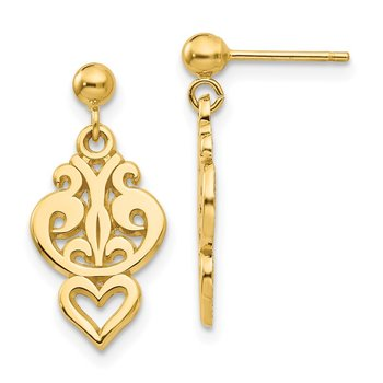 14k Polished Filigree Fancy Heart Post Dangle Earrings