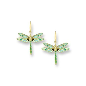 Green Dragonfly Wire Earrings.18K -Diamonds - Plique-a-Jour