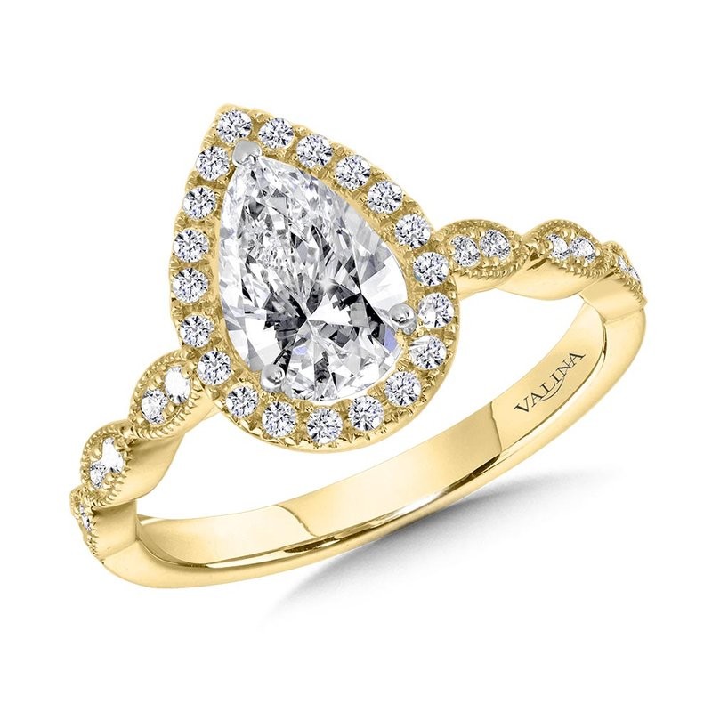 Valina Scalloped & Milgrain-Beaded Pear-Shaped Halo Engagement Ring