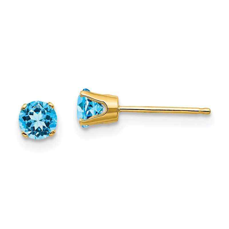 Quality Gold 14k 4mm December/Blue Topaz Post Earrings