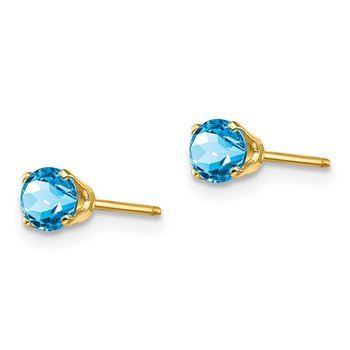 14k 4mm December/Blue Topaz Post Earrings