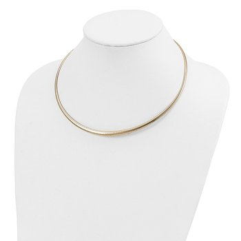 14k Polished 3/6mm Graduated Omega Necklace