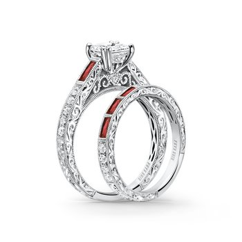Engraved Ruby Diamond Engagement Ring