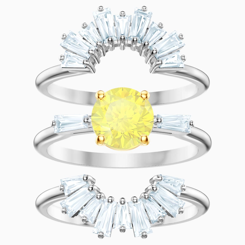 Swarovski Sunshine Ring Set, White, Rhodium plated