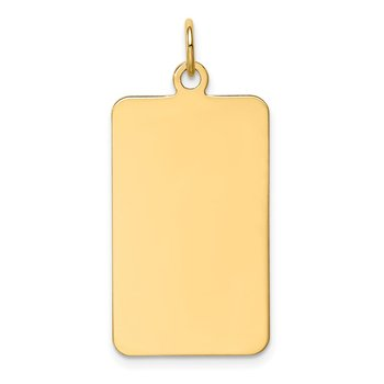 14k Plain .011 Gauge Rectangular Engravable Disc Charm