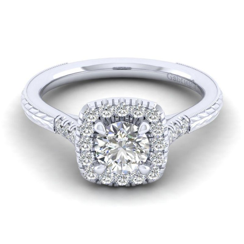 Gabriel  Vintage Round Halo Engagement Ring