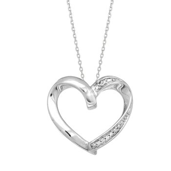 Silver Diamond Accent .03ct Heart Necklace