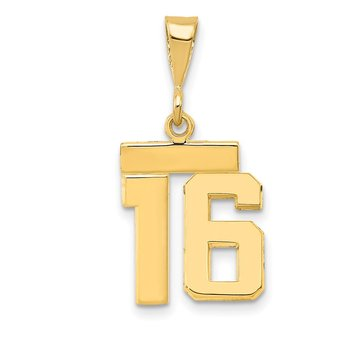 14k Small Polished Number 16 Charm