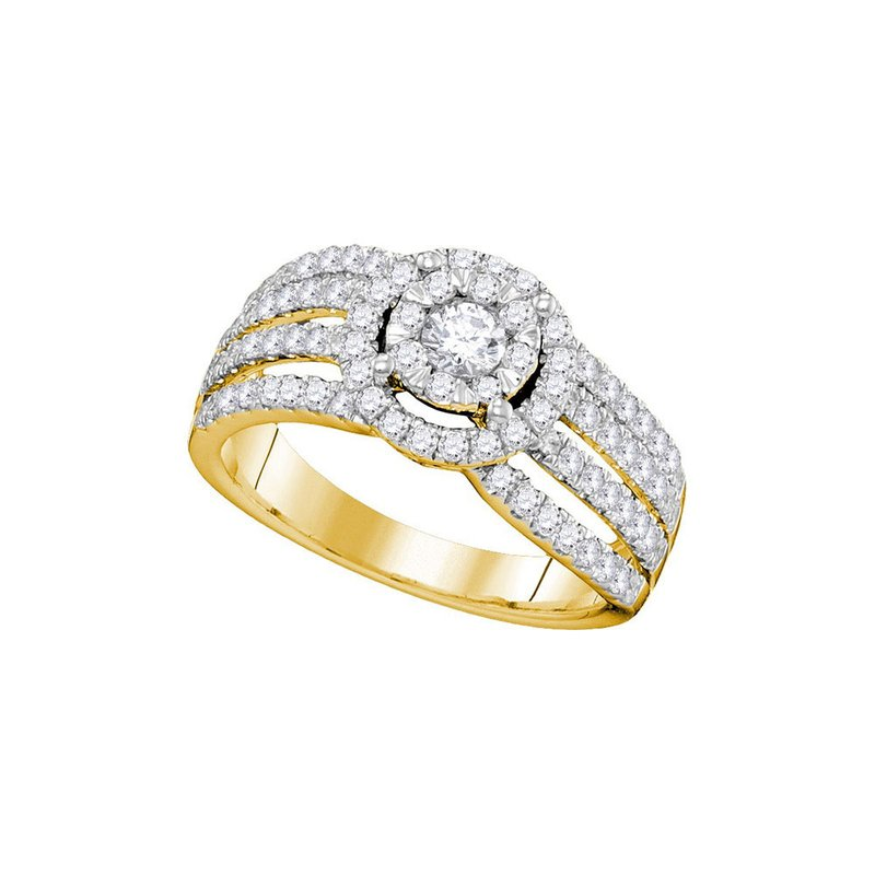 Gold-N-Diamonds, Inc. (Atlanta) 14kt Yellow Gold Womens Round Diamond Solitaire Halo Strand Bridal Wedding Engagement Ring 1.00 Cttw