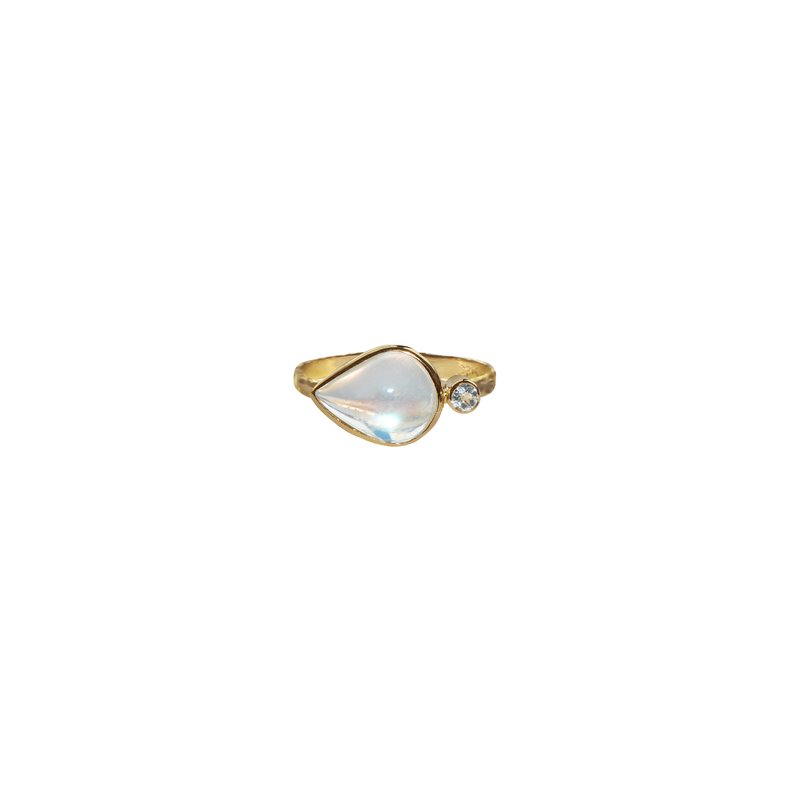 Anzie Classique Double East West Large Stackable Ring - Moonstone, Clear Topaz & Gold