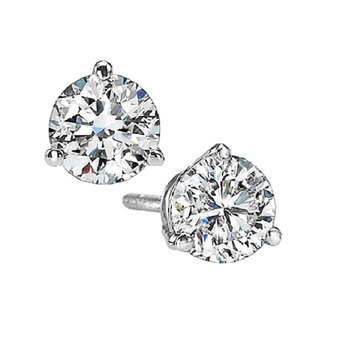 Martini Diamond Stud Earrings in 14K White Gold (1 ct. tw.) I1 - G/H