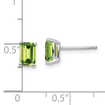 14k White Gold 6x4mm Emerald Cut Peridot Earrings
