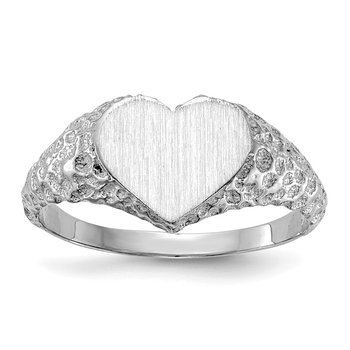 14k White Gold 8.0x9.0mm Open Back Heart Signet Ring
