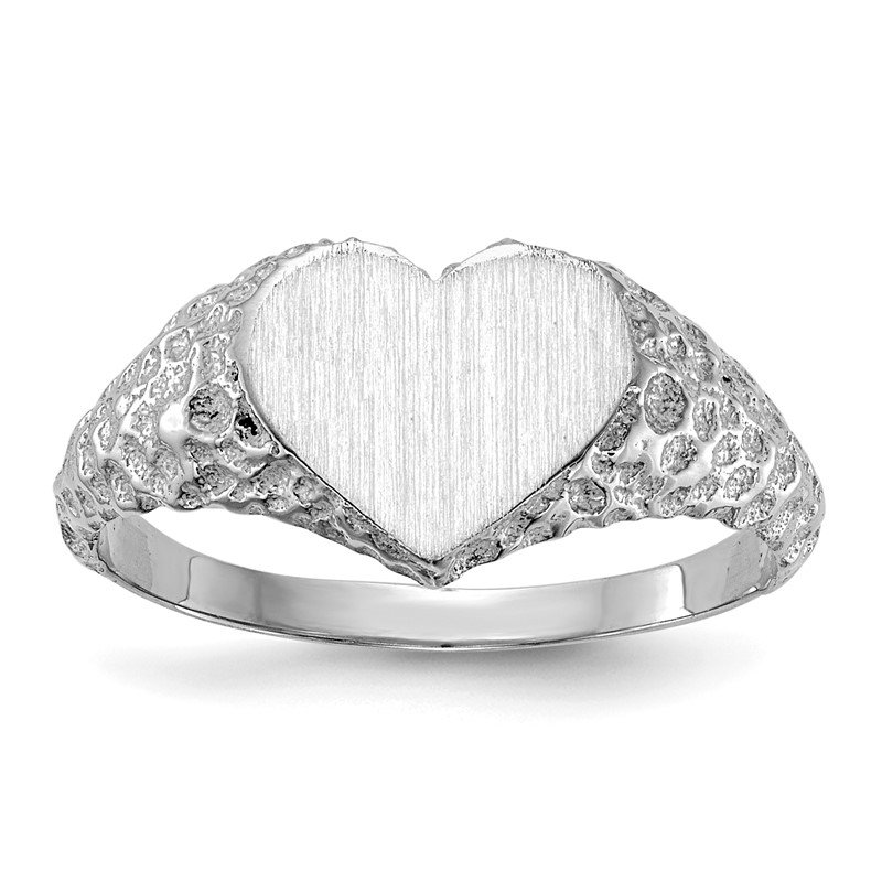 Quality Gold 14k White Gold 8.0x9.0mm Open Back Heart Signet Ring