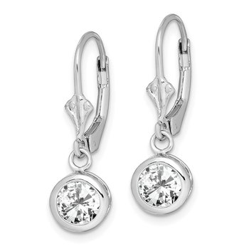 Sterling Silver Rhodium 6mm Round CZ Leverback Earrings
