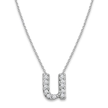 "Diamond Baby Typewriter Initial ""U"" Necklace in 14k White Gold with 11 Diamonds weighing .06ct tw."