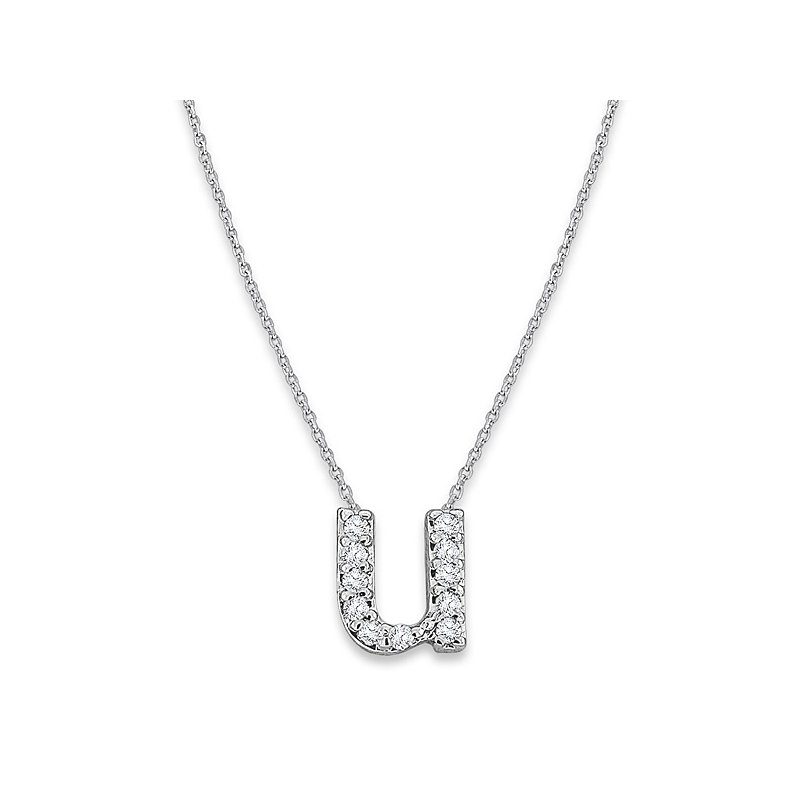 "KC Designs Diamond Baby Typewriter Initial ""U"" Necklace in 14k White Gold with 11 Diamonds weighing .06ct tw."