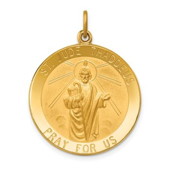 14k Solid Polished/Satin Large Round St. Jude Thaddeus Medal