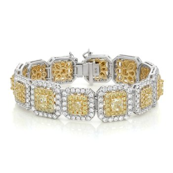 Cushion Cut Two Tone Diamond Bracelet
