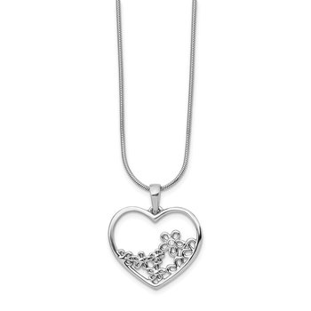 SS White Ice Heart Shaped w/ Flower Center Diamond Necklace