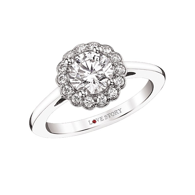 Floral Halo Engagement Ring by Love Story