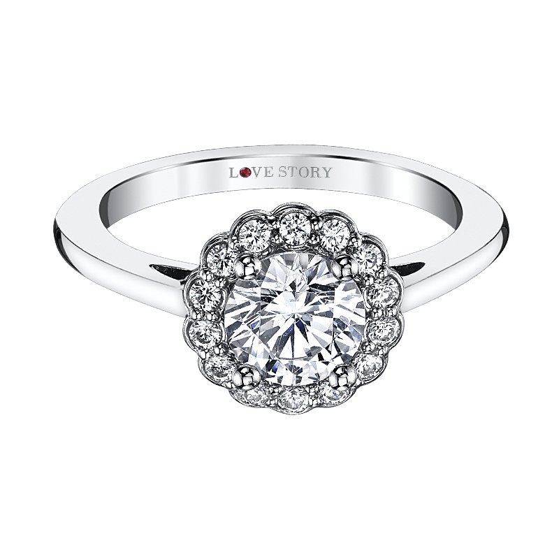 Love Story Diamonds Floral Halo Engagement Ring by Love Story