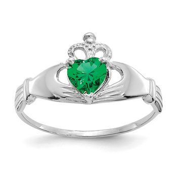 14k White Gold CZ May Birthstone Claddagh Heart Ring