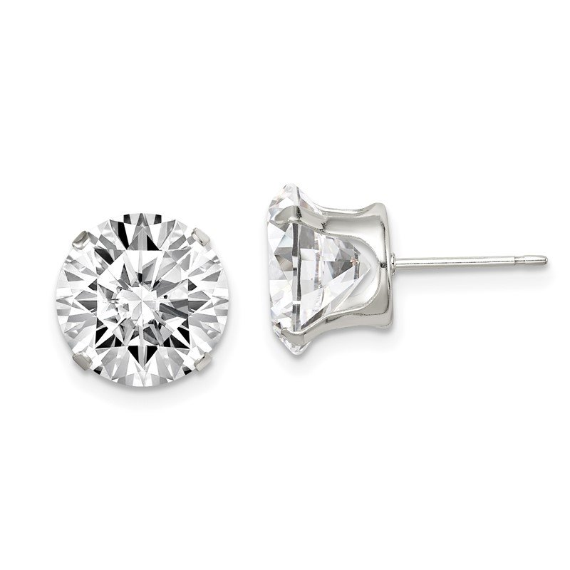 Quality Gold Sterling Silver 10mm Round Snap Set CZ Stud Earrings