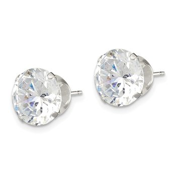 Sterling Silver 10mm Round Snap Set CZ Stud Earrings