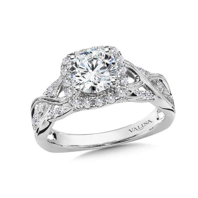 Valina Diamond Halo Engagement Ring Mounting in 14K White Gold (.36 ct. tw.)