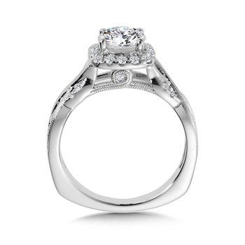 Diamond Halo Engagement Ring Mounting in 14K White Gold (.36 ct. tw.)
