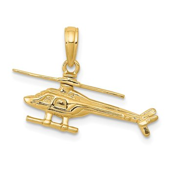 14k 3-D Moveable Helicopter Pendant